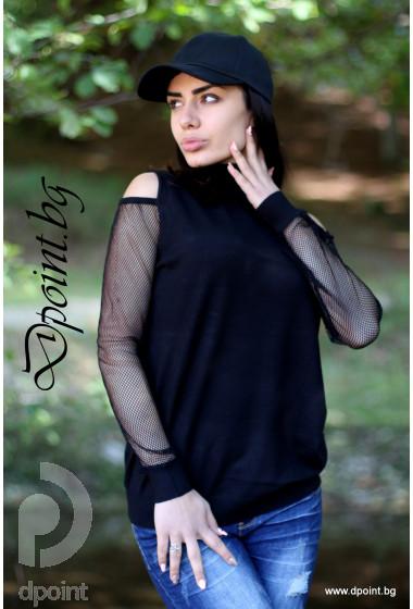 Блуза с мрежа на ръкавите Аделина