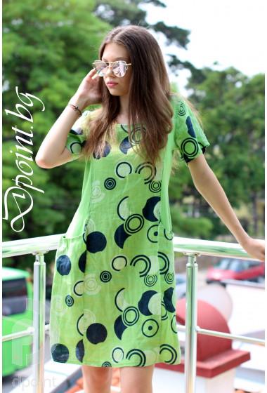 Лята рокля от лен Ная