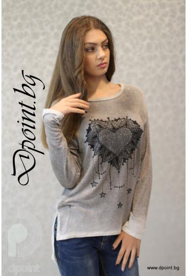 Дамска блуза със сърце Тами