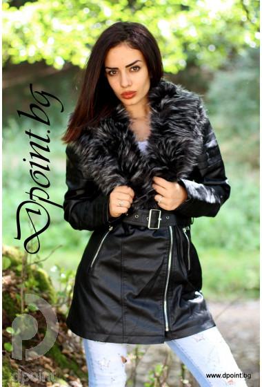 Дамско кожено яке с каракул Алисия