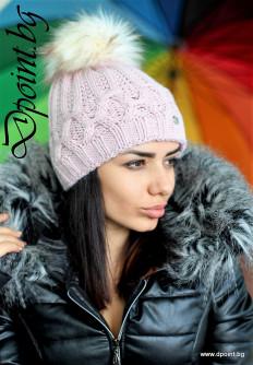 Дамска зимна шапка с пух Линда