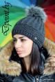 Дамска плетена шапка с пух Хелън