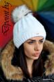 Дамска плетена шапка с пухче Шарън