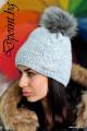 Плетена зимна шапка с пухче Мери