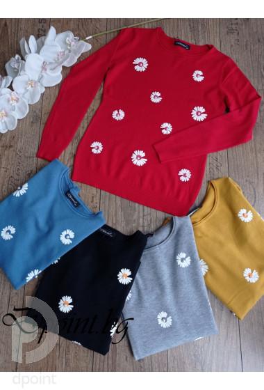 Дамска блуза от фино плетиво с цветя Сани