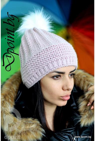 Зимна плетена шапка с пух Сандра