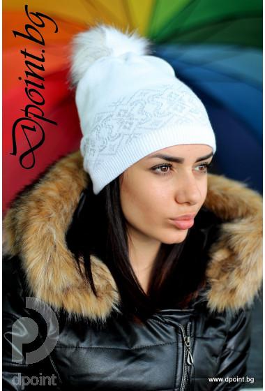 Дамска шапка с пухче Шърли