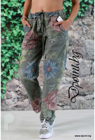Дамски летен панталон на цветя Поли
