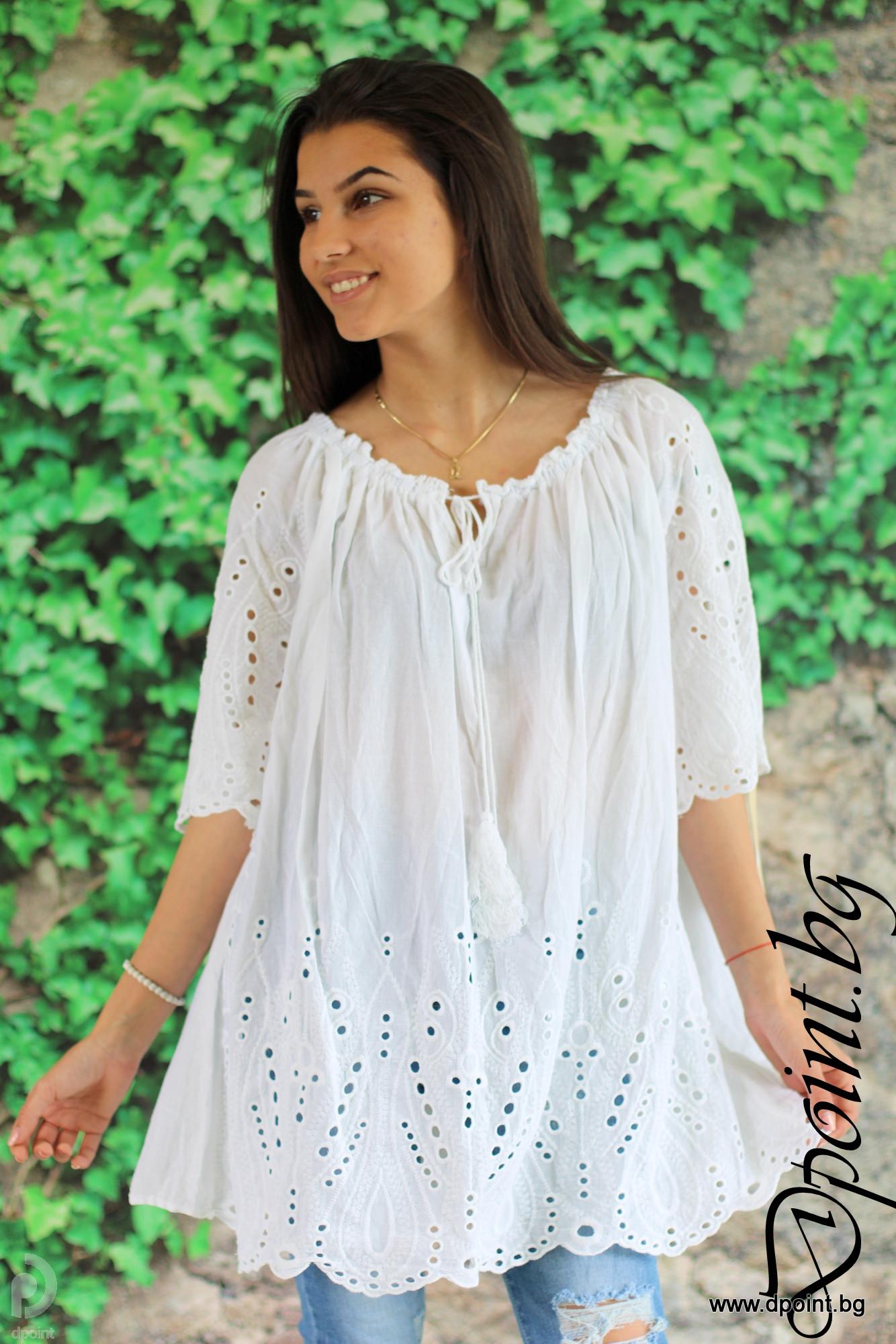 3794ee82e8d Лятна блуза от бродиран памук Сабина