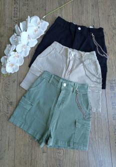 Дамски дънкови къси панталонки с джобове Сара