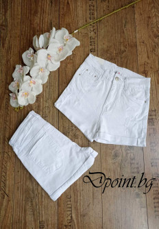 Дамски къси бели дънки с висока талия Оливия