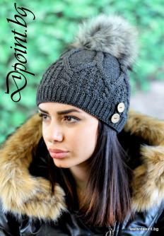 Плетена зимна шапка с пух Аманда