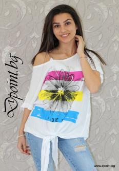 Лятна дамска блуза с цвете Марси